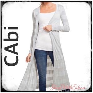 CAbi Nantucket Gray Light Long Duster Cardigan